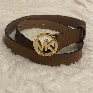 Michael Kors Tan/Gold Small Logo Belt